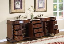 90 Inch Double Bathroom Vanity silkroad exclusive english chestnut 90-inch stone top double sink
