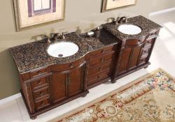 Silkroad Exclusive English Chestnut 90-inch Stone Top Double Sink Bathroom Vanity - Thumbnail 2