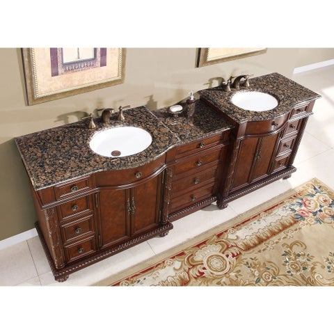 Silkroad Exclusive English Chestnut 90-inch Stone Top Double Sink Bathroom Vanity