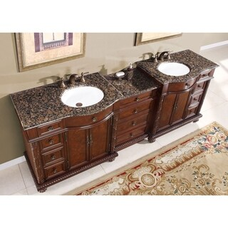 Silkroad Exclusive English Chestnut 90-inch Stone Top Double Sink Bathroom Vanity (2 options available)