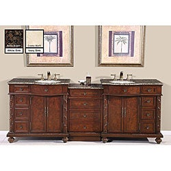 Silkroad Exclusive English Chestnut 90-inch Stone Top Double Sink Bathroom Vanity