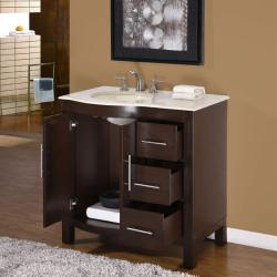 Silkroad Exclusive Natural Stone Countertop Bathroom Single Sink Vanity cabinet Lavatory (36-inch) - Thumbnail 1