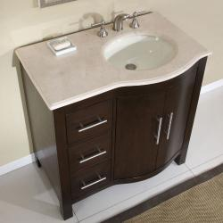 Silkroad Exclusive Natural Stone Countertop Bathroom Single Sink Vanity cabinet Lavatory (36-inch) - Thumbnail 2