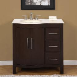 Silkroad Exclusive Natural Stone Countertop Bathroom Single Sink Vanity cabinet Lavatory (36-inch)