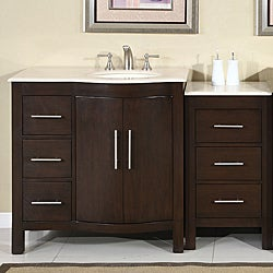 Silkroad Exclusive Stone Counter Top Bathroom Single Sink Cabinet Vanity  Lavatory (54 Inch)