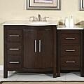 Silkroad Exclusive Stone Counter Top Bathroom Single Sink Cabinet Vanity Lavatory (54-inch)