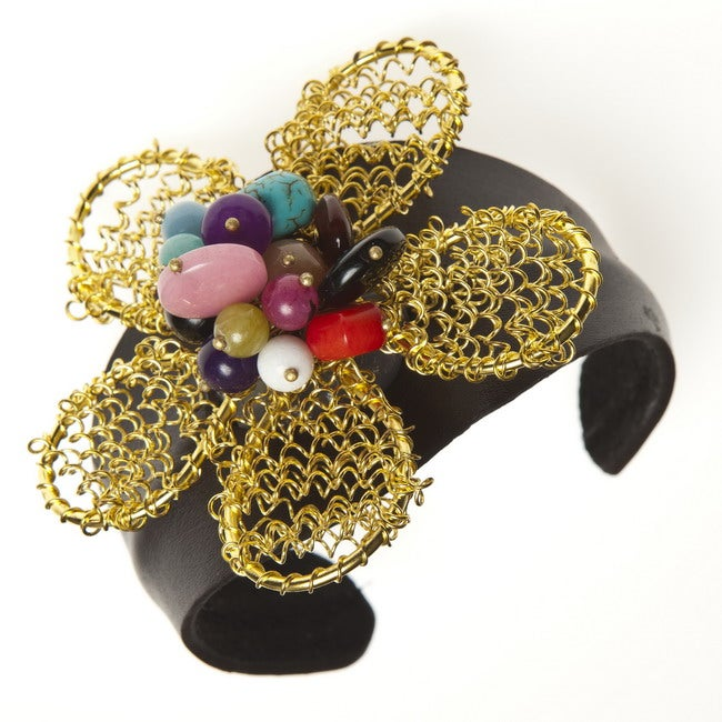 Handmade Goldtone Quartz, Turquoise and Chalcedony Floral Cuff Bracelet (Thailand)