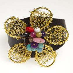 Handmade Goldtone Quartz, Turquoise and Chalcedony Floral Cuff Bracelet (Thailand) - Thumbnail 1