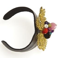 Handmade Goldtone Quartz, Turquoise and Chalcedony Floral Cuff Bracelet (Thailand) - Thumbnail 2