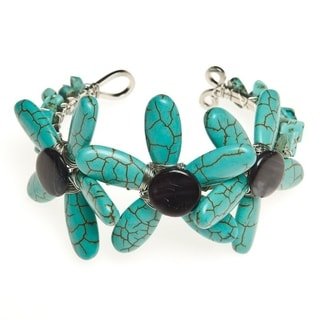 Handmade Reconstructed Turquoise and Mother of Pearl Cuff Bracelet (Thailand)
