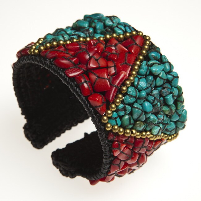 Brass Turquoise and Coral Triangle Cuff Bracelet