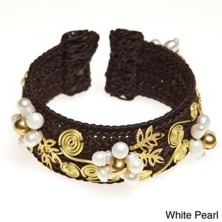 Brass White Pearl Flower Swirl Leaf Cuff Bracelet (5-6 mm)(Thailand)