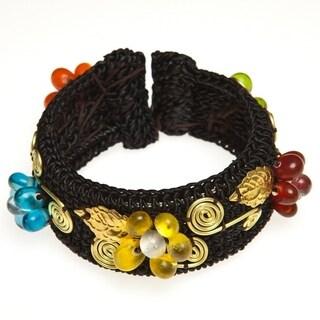Handmade Brass Multicolor Glass Flower Cuff Bracelet (Thailand)