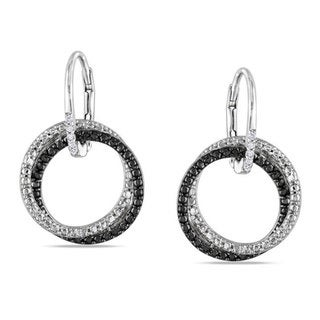 Miadora Sterling Silver White Diamond Dangle Earrings