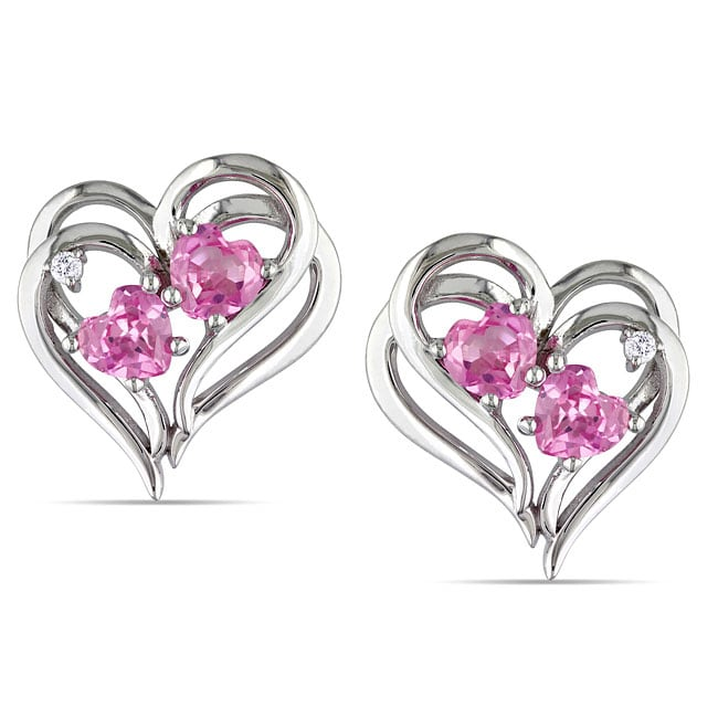 Miadora Sterling Silver Created Pink Sapphire Diamond Heart Earrings (H-I, I2-I3)