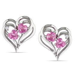 Miadora Sterling Silver Created Pink Sapphire Diamond Heart Earrings (H-I, I2-I3)