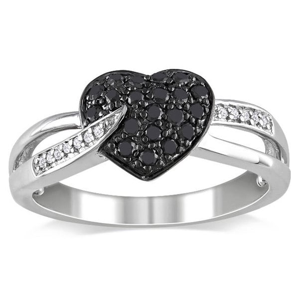 Miadora Sterling Silver 1/3ct TDW Black and White Diamond Heart Ring