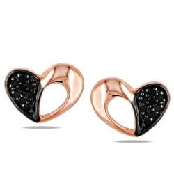 Miadora Pink Rhodium 1/10ct TDW Black Diamond Heart Stud Earrings