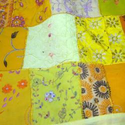 Yellow Vintage Sari Patch Throw (India) - Thumbnail 1