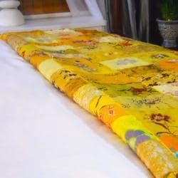 Yellow Vintage Sari Patch Throw (India) - Thumbnail 2