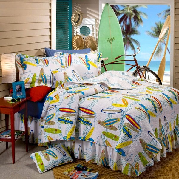 Surfboard 5 Piece Twin Size Quilt Set Free Shipping