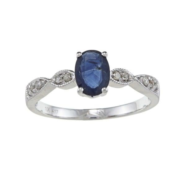 Viducci 10k Gold Blue Sapphire and 1/10ct TDW Diamond Ring (G-H, I1-I2)