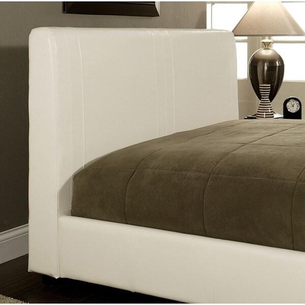 Abbyson Living Malibu White Bi-Cast Leather Queen-Size Bed