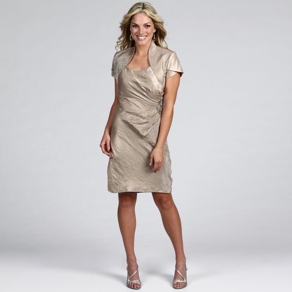 Jessica Howard Women's Taupe Beaded 2-piece Dress