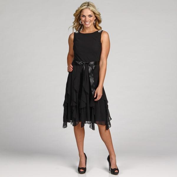 Jessica Howard Women's Beaded Ruffle Belted Dress