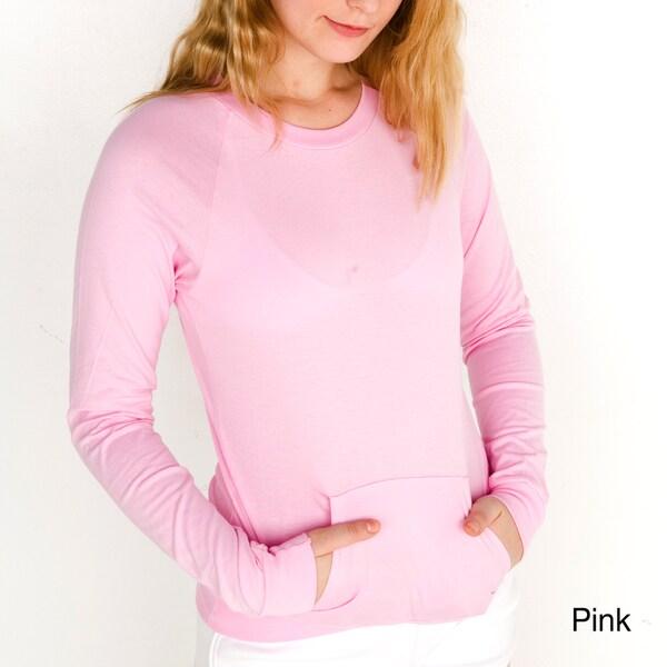 American Apparel Women's Fine Jersey Long Sleeve Pink Sport Raglan Top (XL)