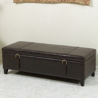 Brown Bonded Leather Storage Ottoman Bench with Straps by Christopher Knight Home