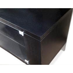 Sleek Espresso TV Stand with Glass Doors - Thumbnail 1