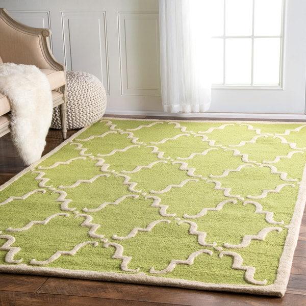Handmade Luna Marrakesh Trellis Wool Gold Rug (7'6 x 9'6)