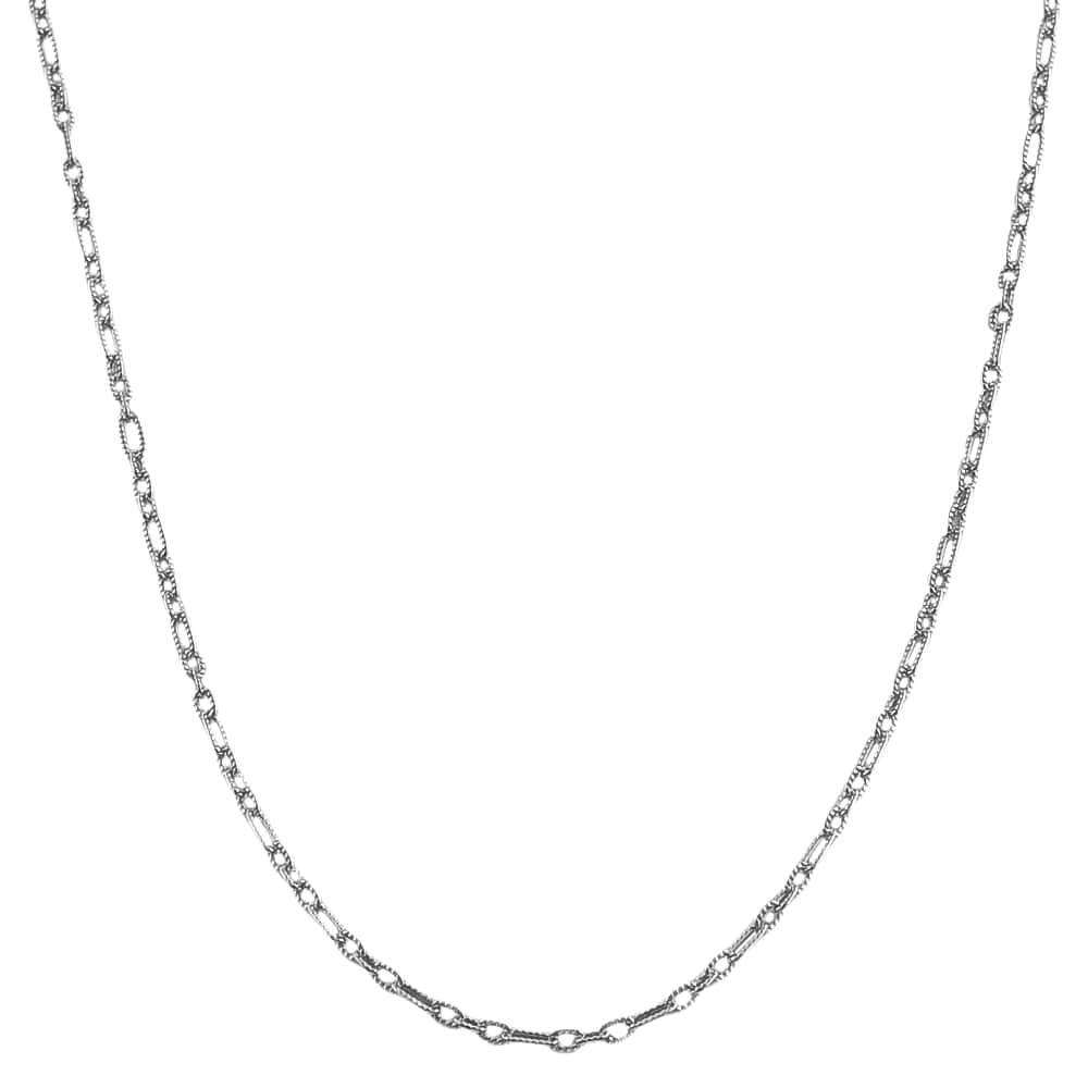 Fremada Sterling Silver Textured Mixed Link Chain Necklace (24-inch)