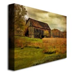 Lois Bryan 'Old Barn on Stormy Afternoon' Medium-Sized Canvas Art - Thumbnail 1