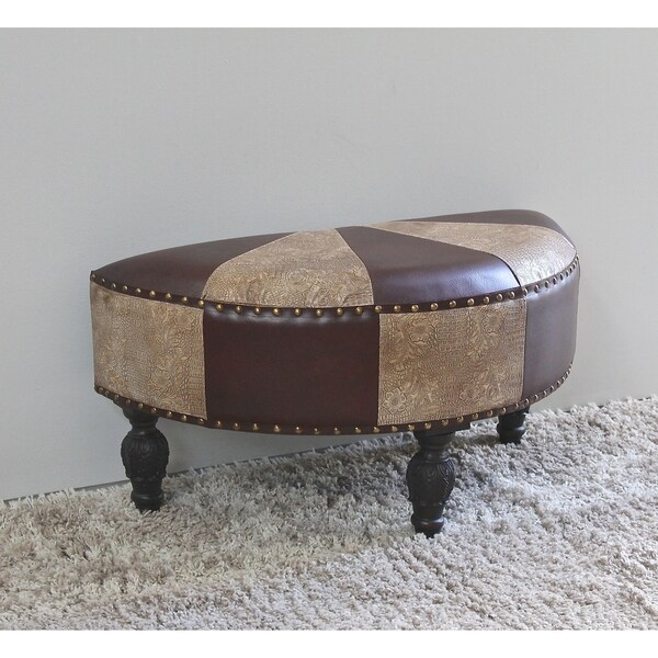 International Caravan Carmel Half-moon Ottoman Stool
