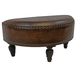 International Caravan Faux Leather Half-Moon Ottoman