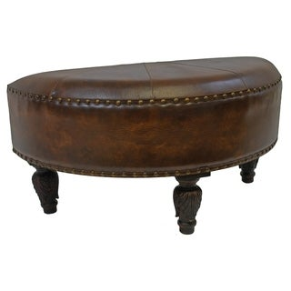 International Caravan Seville Faux Leather Half-moon Ottoman