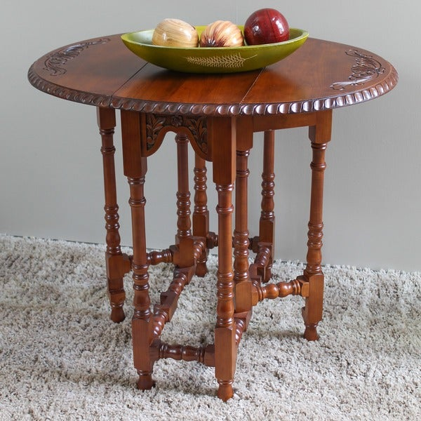 International Caravan Windsor Hand-carved Drop-leaf Oval Table