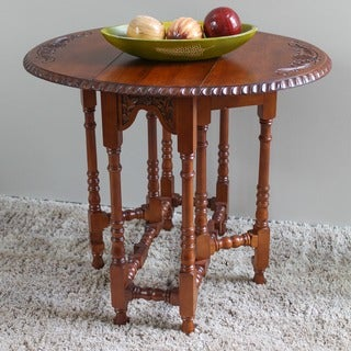 International Caravan Hand-Carved Mahogany Drop-Leaf Oval Table