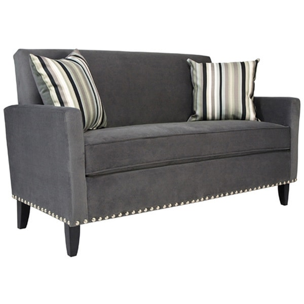 angelo:HOME Sutton Antique Silver Gray Sofa with Black Stripe Pillow