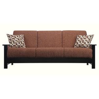 Portfolio Belfry Convert-a-Couch Brown Chenille Exposed Black Wood Arm Futon Sofa Sleeper
