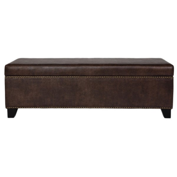 angelo:HOME Kent Coffee Brown Renu Leather Wall Hugger Trunk Storage Ottoman