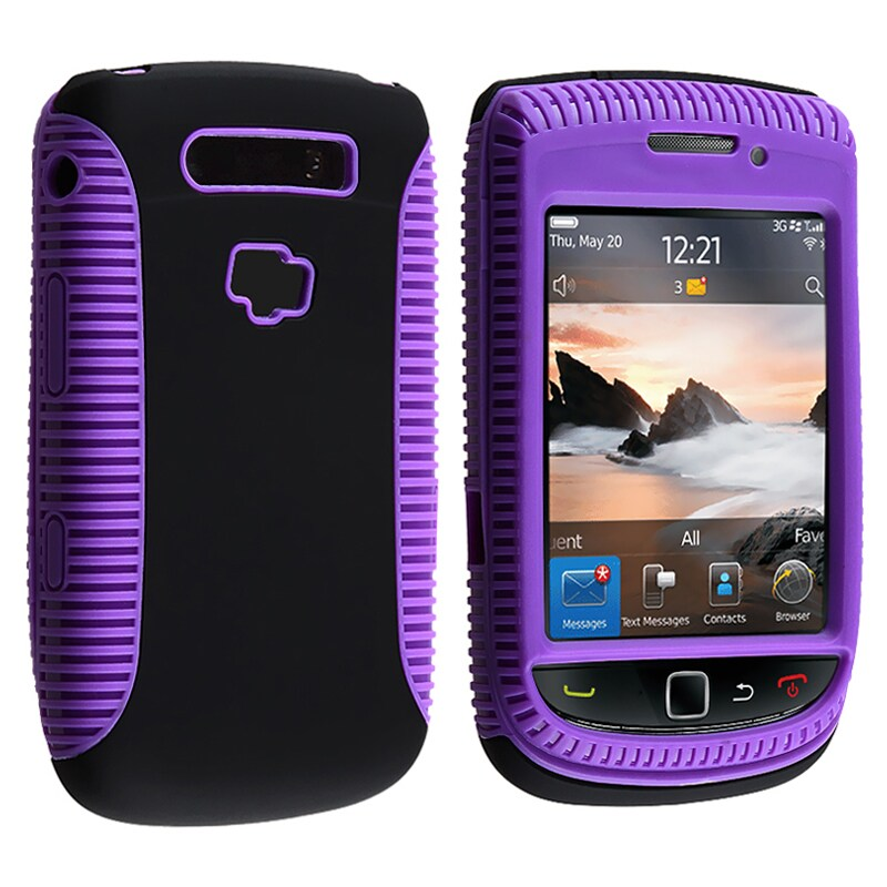 Purple TPU/ Black Plastic Hybrid Case for BlackBerry Torch 9800/9810