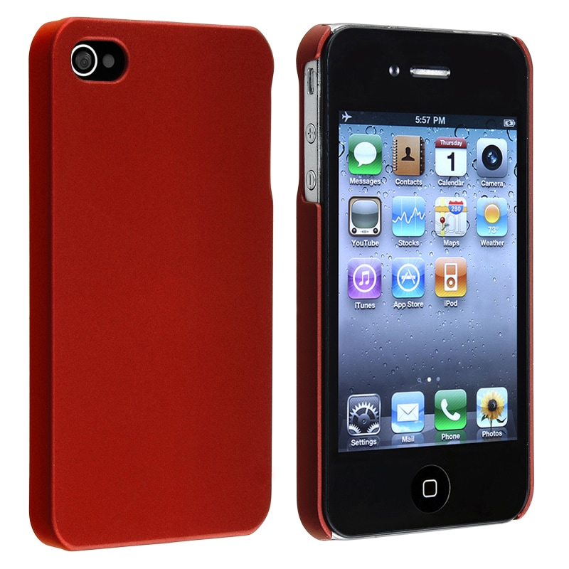 Red Rear Snap-on Rubber Coated Case for Apple iPhone 4/ 4S