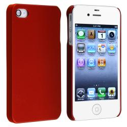 Red Rear Snap-on Rubber Coated Case for Apple iPhone 4/ 4S - Thumbnail 1