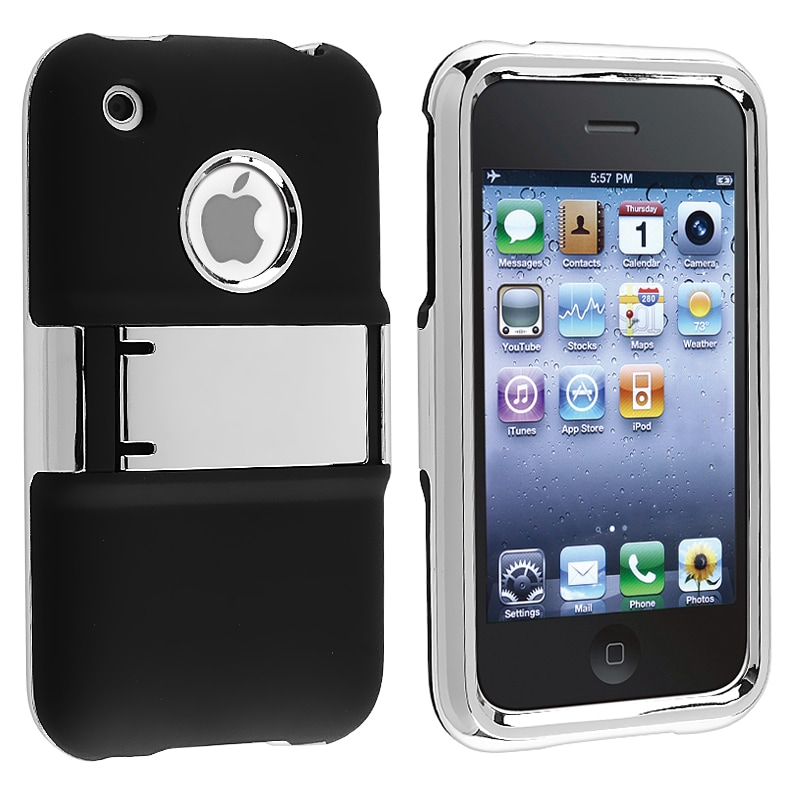 Black with Chrome Stand Snap-on Case for Apple iPhone 3G/ 3GS - Thumbnail 0