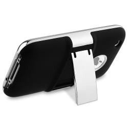 Black with Chrome Stand Snap-on Case for Apple iPhone 3G/ 3GS - Thumbnail 1