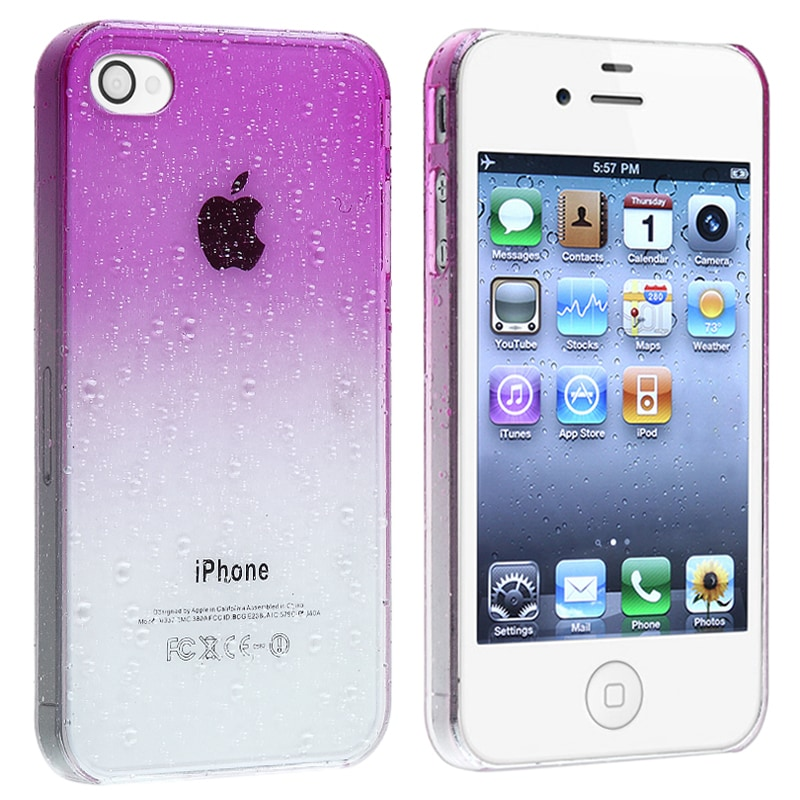 INSTEN Clear Purple Waterdrop Snap-on Phone Case Cover for Apple iPhone 4/ 4S - Thumbnail 0