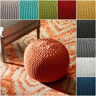 Handmade Casual Living Indian Cables Orange Pouf